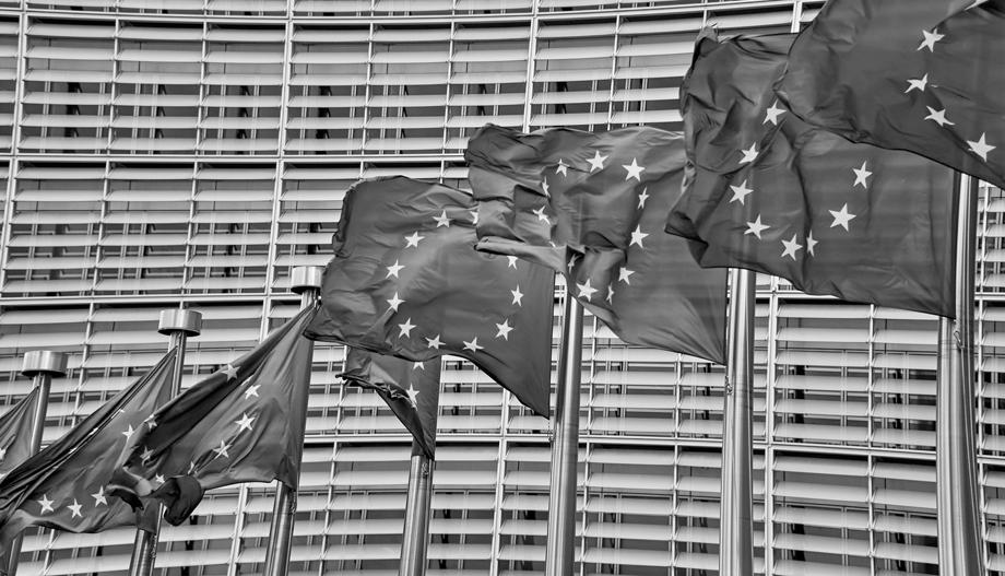 EU-Fahnen vor EU-Gebäude